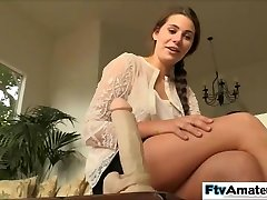 Blond cutie first time big dildo pummel