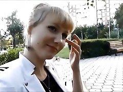 Jaw-dropping school girl feet - outdoor nylon footjob