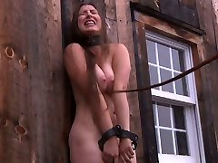 Village modest chick gets trussed up in the abandoned shed