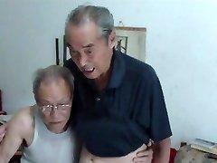 Chinese old men comparing jizz-shotguns