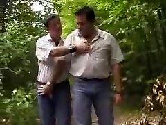 Chubby hairy men in woods
