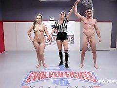 Carmen Valentina vs Lance Hart in mixed nude wrestling fight