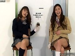 Japanese ladies to handjob with a laugh