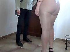 Pantyhose flashing big ass bitch