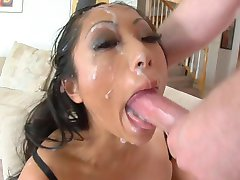 Asian slut deepthroat to facial