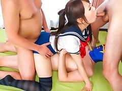 Kåt Japansk hora Ai Mizushima i Bästa JAV ocensurerad Teen scene