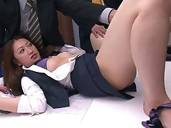 Horny guys fuck hot office girl with vibrators at work
