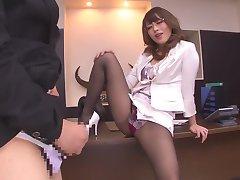 Best Japanese slut Ayu Sakurai in Exotic stockings, handjobs JAV movie
