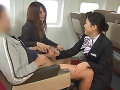 Japanse stewardess handjob - gecensureerde