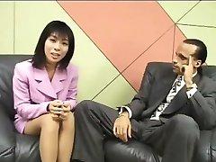 Drobná Japonský novinár lastovičky, cum na pohovor