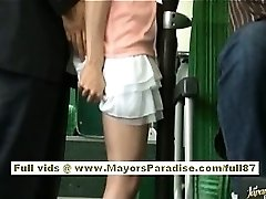 Rio asian teen babe getting her unshaved cum-hole fondled on the bus