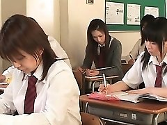 Asian school babe in straps flashes twat upskirt in class