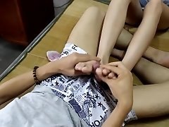China Student's Sexy soles and toes and feet footjob