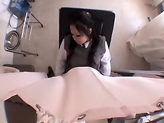 Innocent Jap nubile finger-tickled during medical examination