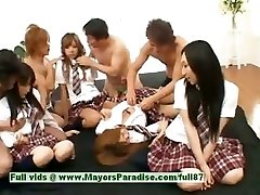 Japanese V ladies have fun with an orgy