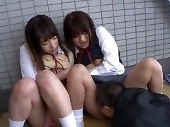 Hottest Japanese girl Yua Aihara, Makoto Takeuchi, Iku Sakuragi in Hottest Cunnilingus, School/Gakuseifuku JAV clip