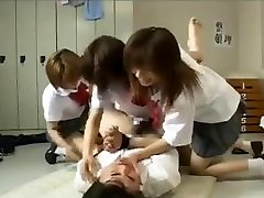 Strap-on gang-fuck by 3 japanese schoolgirls