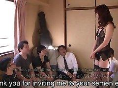 Subtitled Japanese AV starlet Tsubaki Katou gokkun soiree