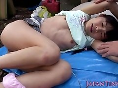 Diminutive japanese fingerfucked and torn up