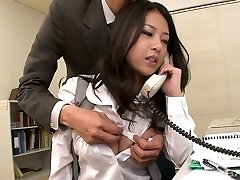 Awesome kawaii Chinese office slut fellates two strong cocks at work