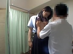 Kinky doctor examines adorable Japanese schoolgirl twat and tits