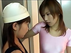 Milky and pink strap-on leotard asian lesbians