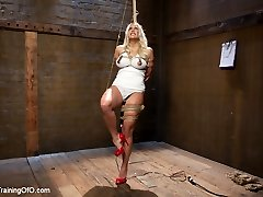 Gorgeous big tit, blonde hair, bubble butt Angel Allwood fucks her way into Slave Training in...