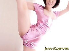 Flexible japanese stunner stimulated with fucktoys