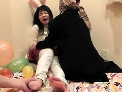 Asian teen chick's soles tickled part 1