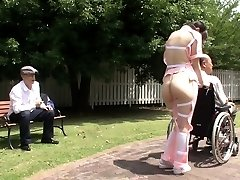 Subtitled freaky Asian half naked caregiver outdoors