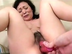 55yr senior Granny Kayoe Ozawa Drizzles and Creamed (Uncensored)