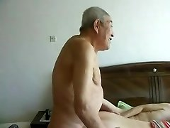 Astounding chinese aged people having great sex