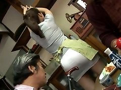Mature fucking three-way with Mirei Kayama in a mini micro-skirt