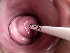 Uterus play with Japanese sounding injection