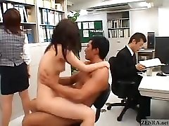 Asian couple fucks in the middle of an office