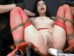 Asian In Pantyhose Tied Orgasm