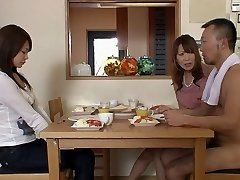 Two men and two girls gets naked in the living apartment