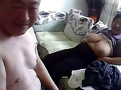 Aged Chinese Couple Get Naked and Fuck on Cam