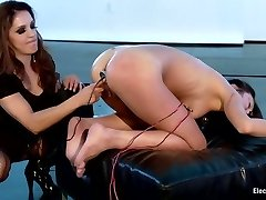 Sexy MILF dominates Cute All Natural Chinese LIVE on Electrosluts!
