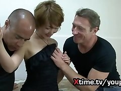 Double milky big cock for a naive Japanese girl. fierce double penetration