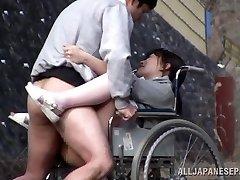 Naughty Japanese nurse sucks man-meat in front of a voyeur