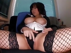 Horny Asian model Neiro Suzuka in Exotic Stockings, Striptease JAV gig