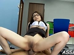 Jaw-dropping asian enjoys stimulating toying for her pussy and anal