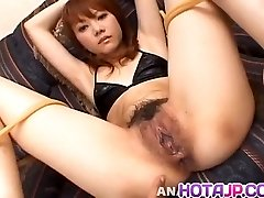 Saki Tachibana trussed gets sex toys in butt