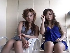 Two slutty Japanese chicks Yurina Shiho and Hibiki Mahiru gives a short interview before shagging one another