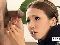 Subtitled CFNM Japanese bizarre group jizz-shotgun inspection
