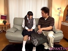 Tiny japan schoolgirl vibed with toys before anal shag
