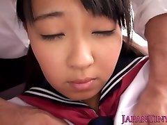 Innocent asian teen spreads legs and sprays
