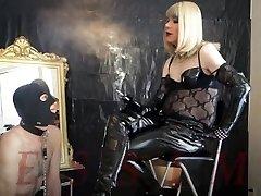 Divine Smoking Dominatrix & Ash-pot slave