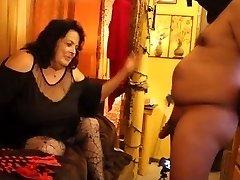 CBT cock slapping Femdom bbw brunette cougar